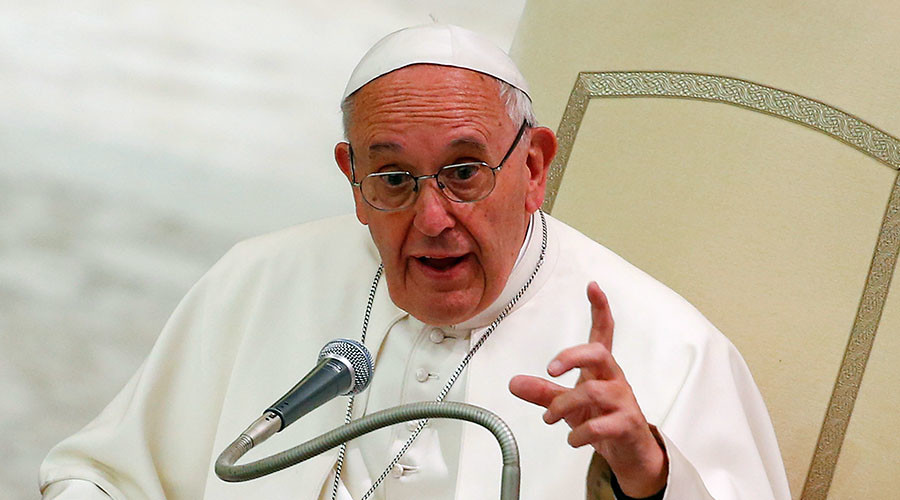 'Caress with the right hand, strike with the left': Pope Francis condemns Syrian arms suppliers