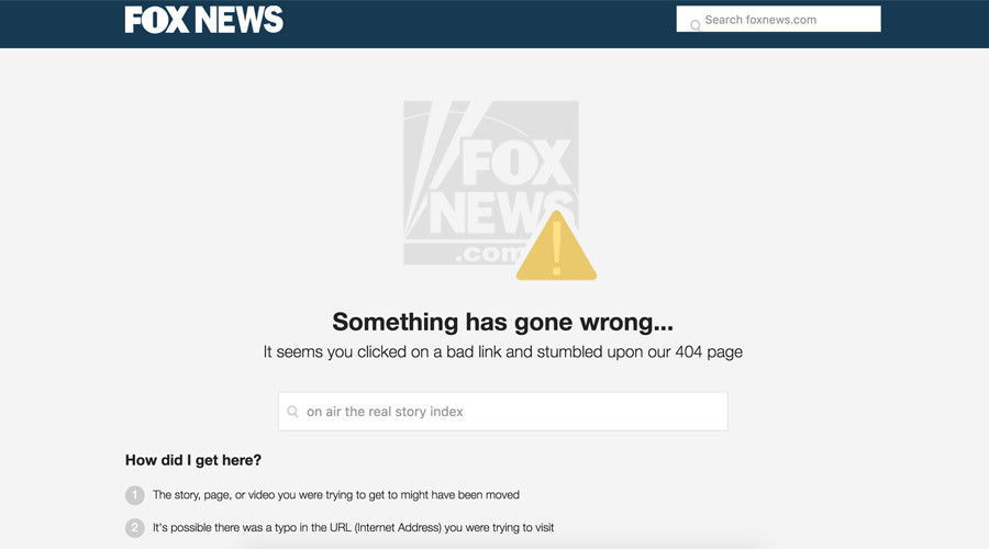 Search for Carlson's show on Fox News' website turns up an error page © foxnews.com