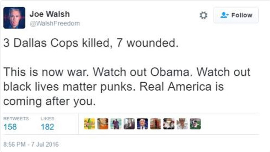 Dallas Shooting: Joe Walsh Defends 'Watch Out Obama' Tweet