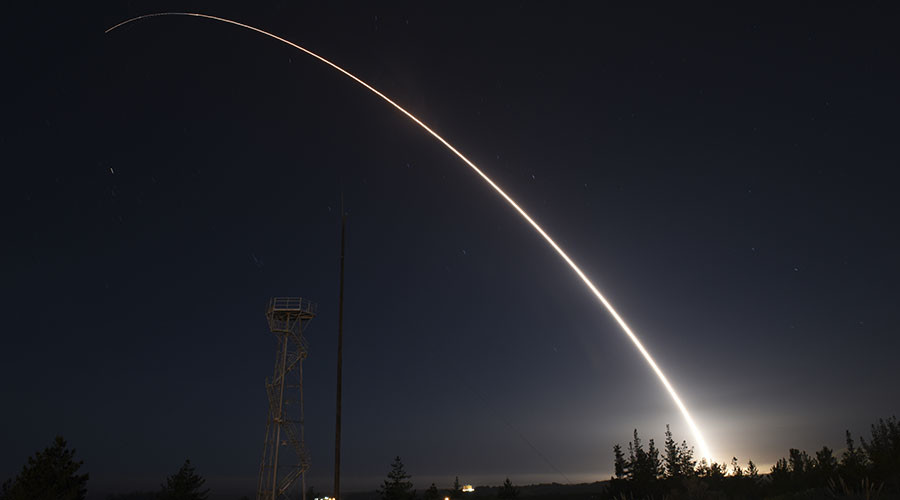 An unarmed Minuteman III intercontinental ballistic missile launches from Vandenberg Air Force Base, California. © Ian Dudley / U.S. Air Force photo