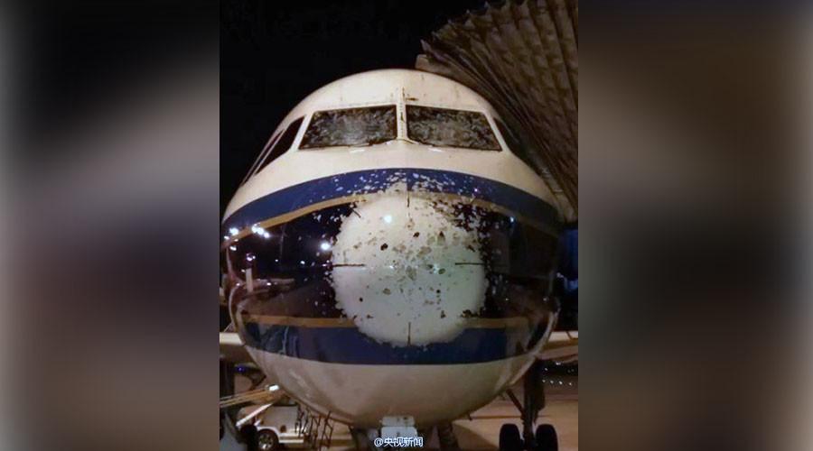 Chinese plane makes miraculous landing after hailstorm cracks cockpit windows