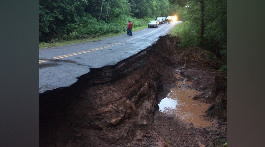 Wisconsin tornado warning issued as floodwater washes away harbor, chunks of road (PHOTOS)