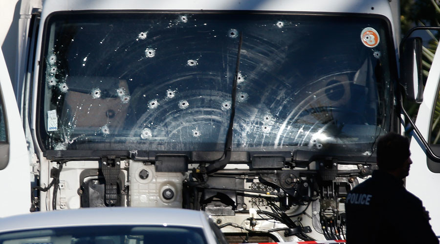 Bullet imacts are seen on the heavy truck the day after it ran into a crowd at high speed killing scores celebrating the Bastille Day July 14 national holiday on the Promenade des Anglais in Nice, France, July 15, 2016. © Eric Gaillard