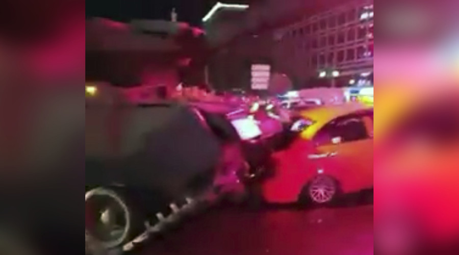 Tanks run over cars in Istanbul as protesters climb onto, block them (VIDEOS)