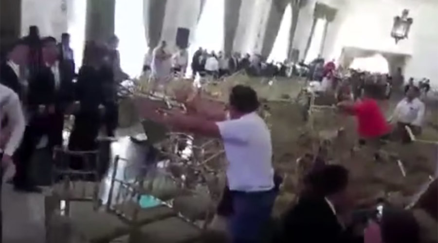 Badly behaved teachers fight with chairs as Mexico conference busts up (VIDEO)