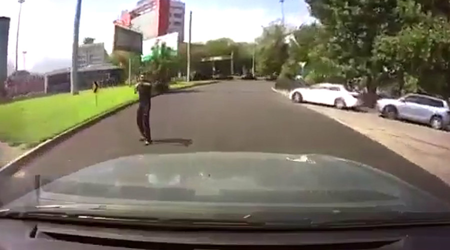 Terrorist drive-by: Dashcam catches lucky Almaty woman's escape at gunpoint (VIDEO)