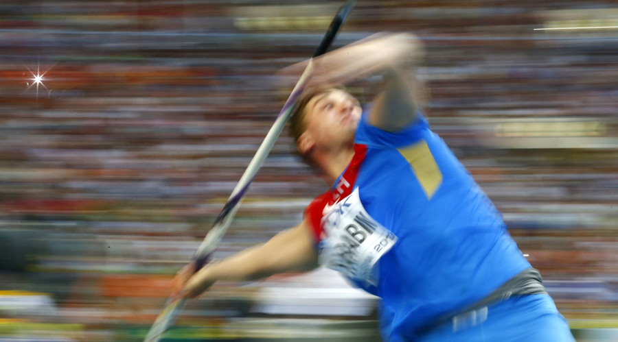 Dmitri Tarabin of Russia competes in the men's javelin throw final. © Dominic Ebenbichler