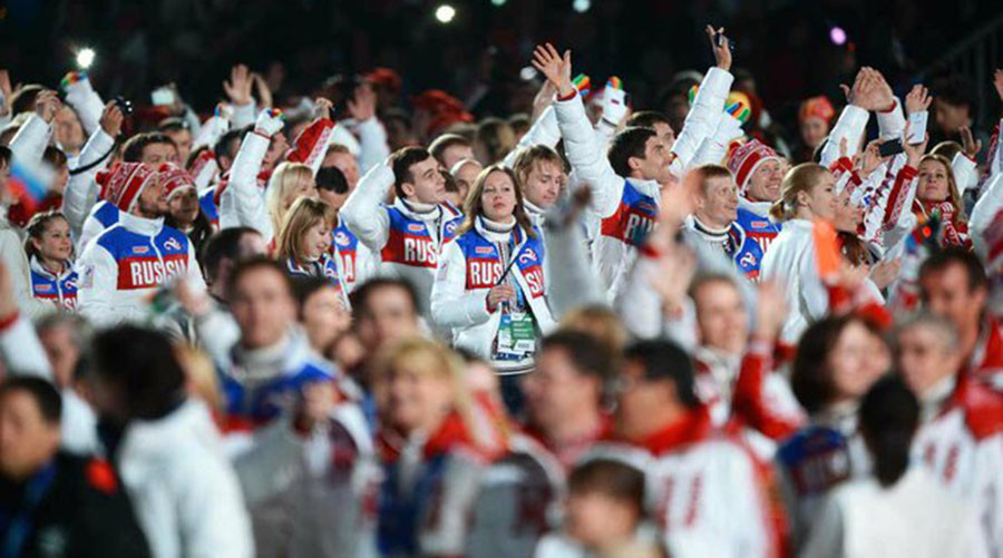 The Russian national team at the closing ceremony of the 2014 Olympic Games © Kremlin.ru