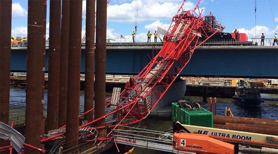 Injuries reported after crane collapses onto major NYC-area bridge
