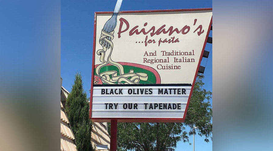 'Black Olives Matter' pun sparks outrage, boosts sales for Italian restaurant