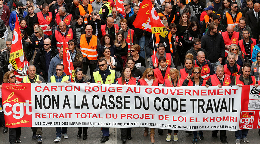 "French labour union workers and students attend a demonstration against the French labour law proposal in Marseille, France, as part of a nationwide labor reform protests and strikes. The slogan reads ""No to the break-up of the labour law. Withdrawal of El Khomri law"". © Jean-Paul Pelissier"