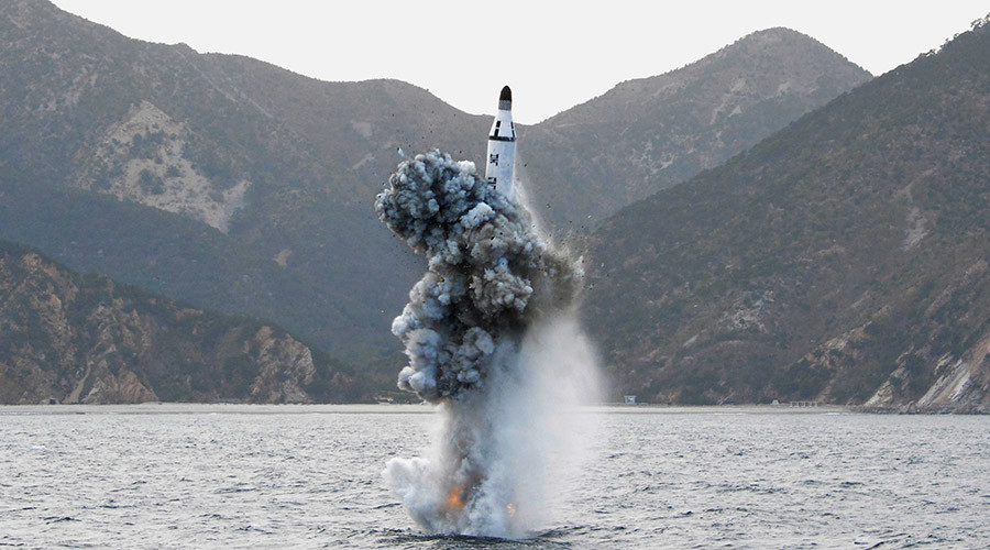 North Korean leader Kim Jong Un guides on the spot the underwater test-fire of strategic submarine ballistic missile in this undated photo released by North Korea's Korean Central News Agency (KCNA) in Pyongyang on April 24, 2016. © KCNA