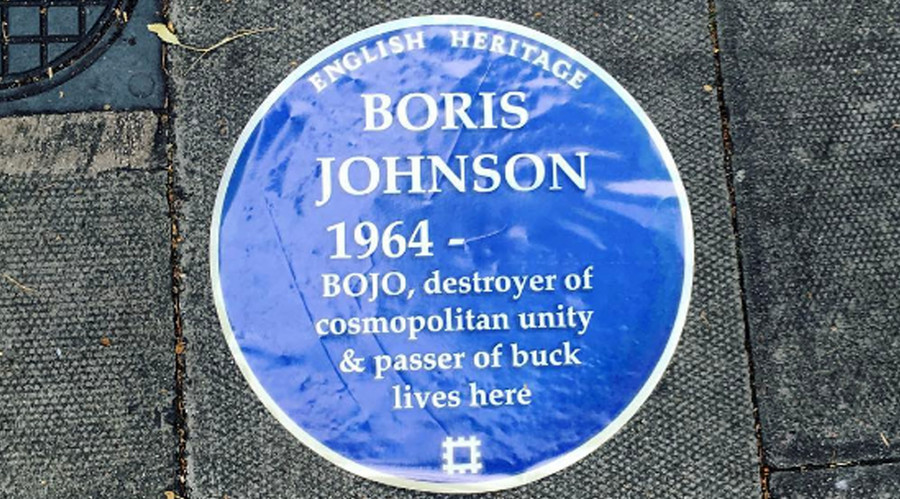 'Passer of buck': Plaques posted outside Boris Johnson's house mock him as 'destroyer' of London