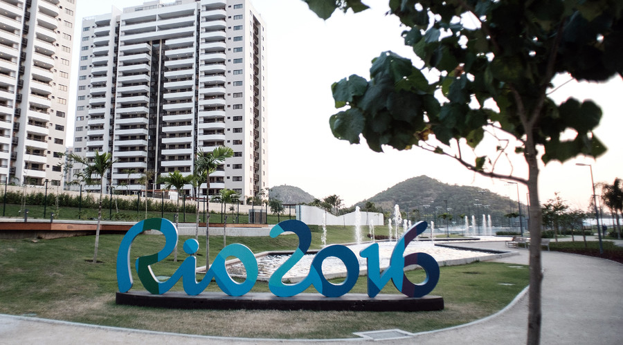 The logo of the Rio Olympic Games is seen at the Olympic and Paralympic Village in Rio de Janeiro, Brazil. © Yasuyoshi Chiba
