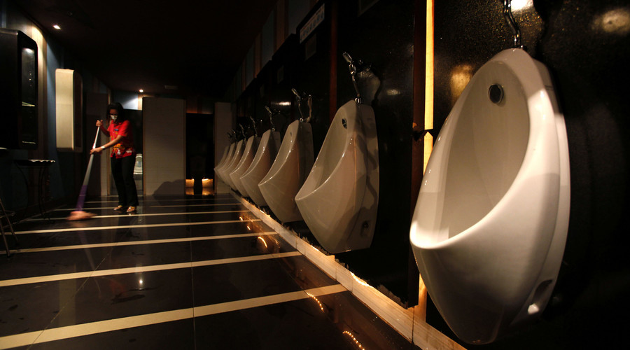 Czech officials hope wee bit of fun at urinals will combat men's cancer