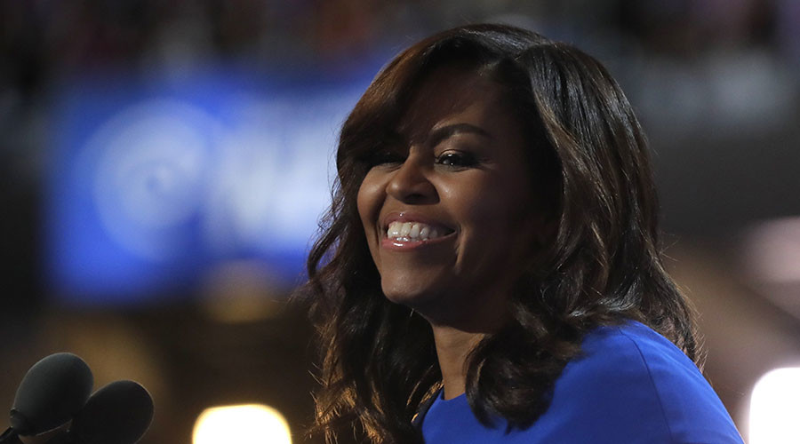 U.S. first lady Michelle Obama smiles as she speaks during the first session at the Democratic National Convention in Philadelphia, Pennsylvania, U.S., July 25, 2016. © Jim Young