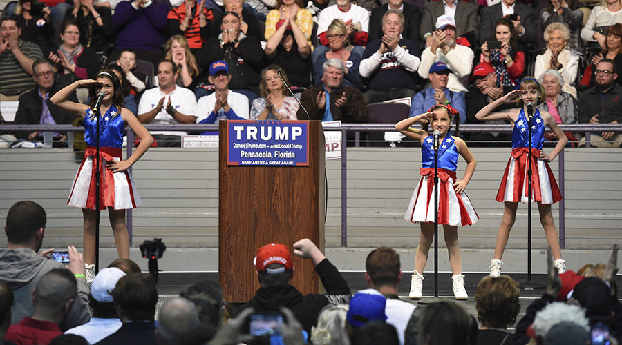"The USA Freedom Kids from Pensacola perform ""Freedom's Call"" which has become known as the ""Trump Jam"" during the U.S. Republican presidential candidate Donald Trump's campaign rally in Pensacola, Florida January 13, 2016. © Michael Spooneybarger"