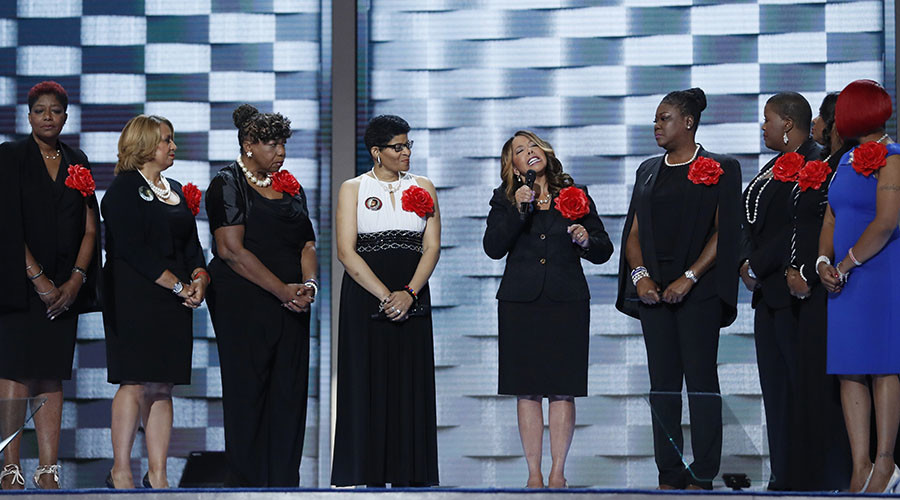 """Mothers of the Movement,"" members stand onstage during the second night of the Democratic National Convention in Philadelphia, Pennsylvania, U.S. July 26, 2016. © Mark Kauzlarich"