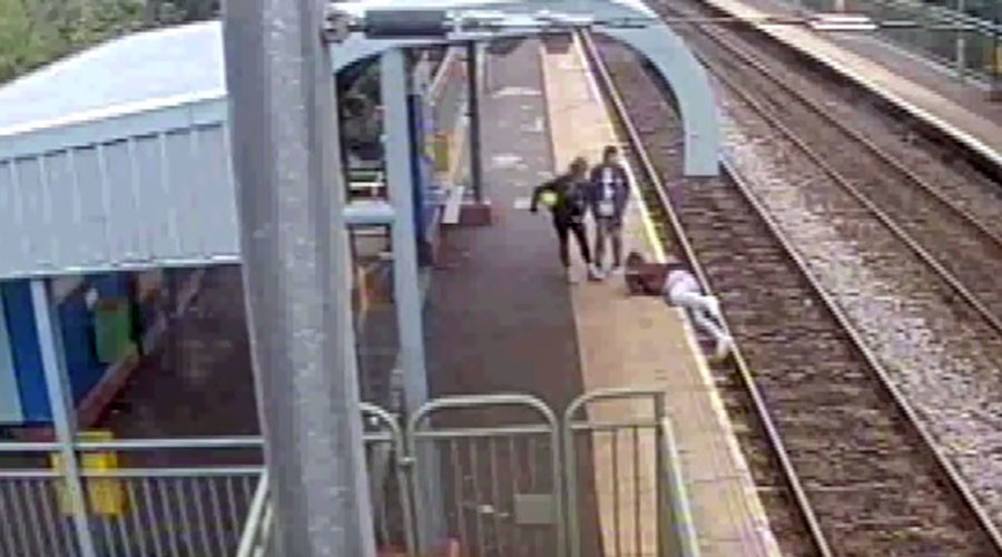 Shocking footage of man struck by train & other near-death misses released by police (VIDEO)