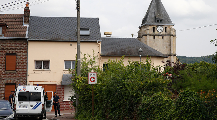 French CRS police secure a street near the church after a hostage-taking in Saint-Etienne-du-Rouvray near Rouen in Normandy, France, July 26, 2016 © Pascal Rossignol