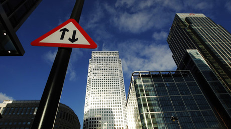 A general view shows the Canary Wharf business district in London © Luke MacGregor