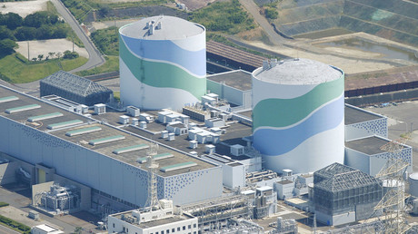 An aerial view shows the No.1 (L) and No.2 reactor buildings at Kyushu Electric Power's Sendai nuclear power station in Satsumasendai, Kagoshima prefecture, Japan, August 11, 2015, in this photo taken by Kyodo. © KYODO