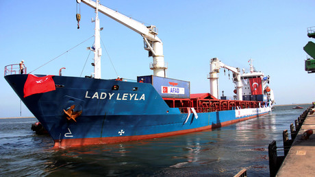 A picture taken on July 1, 2016 shows the Panama-flagged ship Lady Leyla setting off from the southern Turkish port of Mersin for the Gaza Strip. © Huseyin Kar