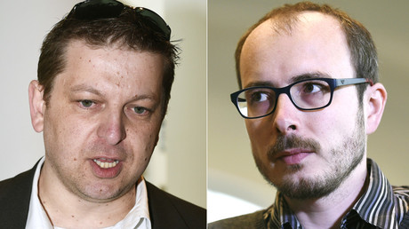 Former employees at services firm PricewaterhouseCoopers (PwC), Raphael Halet (L) and Antoine Deltour (R) © John Thys