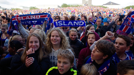 Iceland fans celebrate their team returning home in Reykjavik, Iceland, after Euro 2016, July 4, 2016 © Geirix