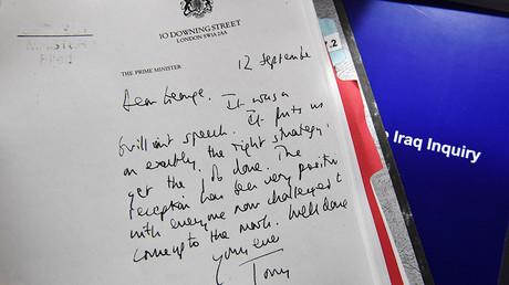 Detail of a declassified handwritten letter sent by the then British PM Tony Blair,to George Bush, former President of the United States, is seen as part of the Iraq Inquiry Report presented by Sir John Chilcot at the Queen Elizabeth II Centre in Westminster,In London,Britain July 6, 2016. © Reuters