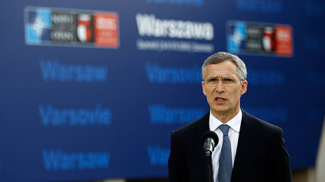 NATO Secretary-General Jens Stoltenberg speaks to the media outside PGE National Stadium, the venue of the NATO Summit, in Warsaw, Poland July 8, 2016 © Jerzy Dudek