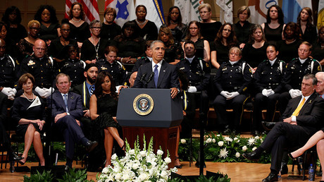 President Barack Obama speaks during a memorial service for five policemen killed last week in a sniper attack in Dallas, Texas July 12, 2016 © Kevin Lamarque