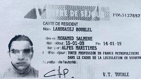 This image shows a reproduction of the residence permit of Mohamed Lahouaiej-Bouhlel, the man who rammed his truck into a crowd celebrating Bastille Day in Nice on July 14. © French Police Source