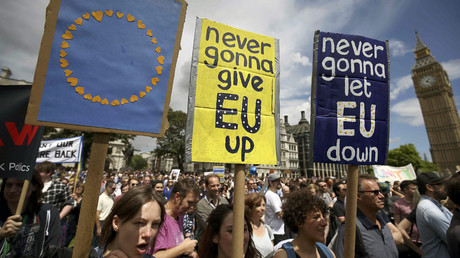 Protestors hold banners in Parliament Square during a 'March for Europe' demonstration against Britain's decision to leave the European Union, central London, Britain July 2, 2016. © Neil Hall