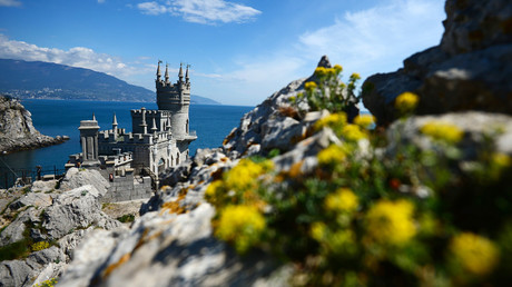 Swallow's Nest is a monument of architecture on top of the Aurora Cliff overlooking the Cape of Ai-Todor in Yalta, the Crimea. © Konstantin Chalabov
