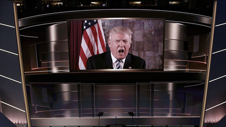 Republican U.S. presidential nominee Donald Trump speaks live via satellite from Trump Tower in New York City during the second session at the Republican National Convention in Cleveland, Ohio, U.S. July 19, 2016. © Mike Segar