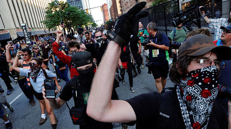 Protesters chant as they march through the streets during demonstrations near the Republican National Convention in Cleveland, Ohio, U.S., July 19, 2016. ©Lucas Jackson
