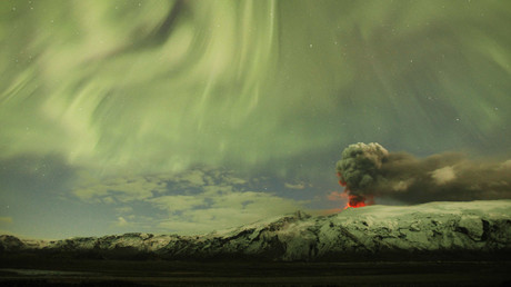 File photo of the Northern Lights as seen above the ash plume of Iceland's Eyjafjallajokull volcano in the evening © Lucas Jackson