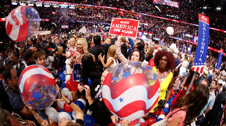 Balloons and confetti descends at the conclusion of the Republican National Convention in Cleveland, Ohio, U.S. July 21, 2016. © Jonathan Ernst