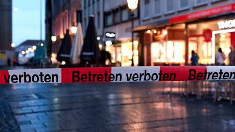 Police sign blocks the entrance to Odeon square following shootings at a shopping mall earlier on July 22, 2016 in Munich © Sven Hoppe