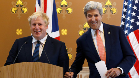 Britain's Foreign Secretary Boris Johnson, left, and U.S. Secretary of State John Kerry © Kirsty Wigglesworth