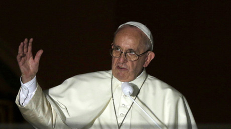 Pope Francis addresses faithfuls from the
