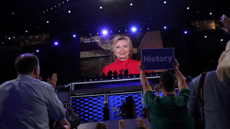 Democratic U.S. presidential nominee Hillary Clinton appears on a video monitor streamed live from New York at the Democratic National Convention in Philadelphia, Pennsylvania, U.S. July 26, 2016. © Mark Kauzlarich