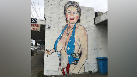 Racy Hillary Clinton mural causes stir, Instagram bans artist (PHOTOS)