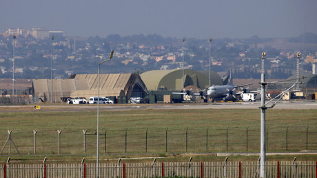 A military aircraft is pictured on the runway at Incirlik Air Base, in the outskirts of the city of Adana, southeastern Turkey. © Stringer