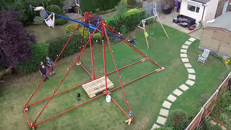extreme 360degree backyard swing sends inventor into sickly spin video u2014 rt viral