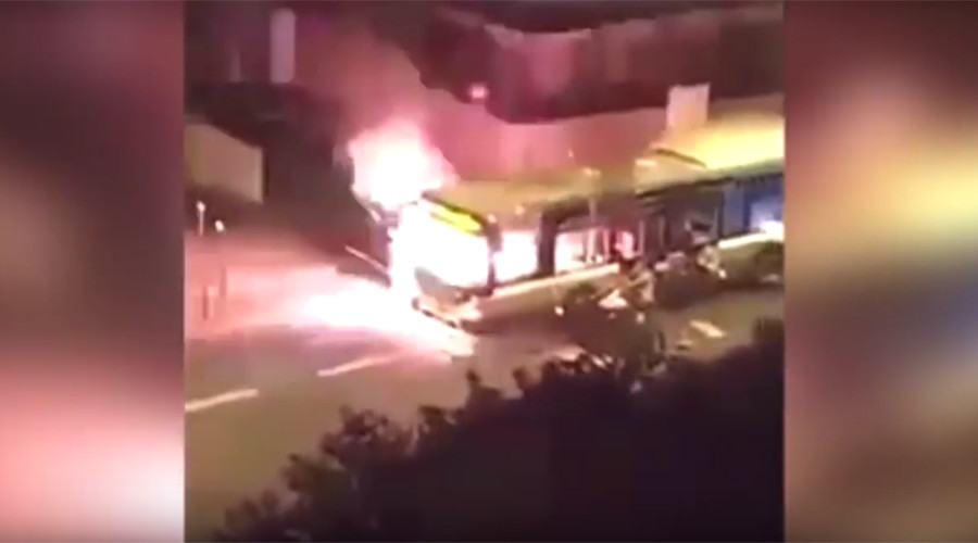 Video shows men in Paris torching bus, reportedly shouting 'Allahu Akbar'