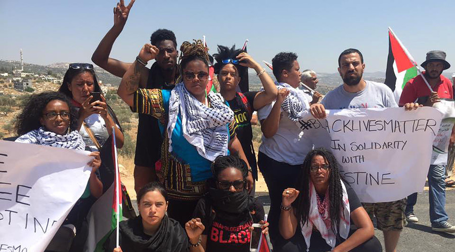 A Black Lives Matter delegation arrives from the US to Samarian village of Bilin near Ramallah, Palestine Administration, to protest with Palestinian activists against Israeli occupation. © Black Lives Matter