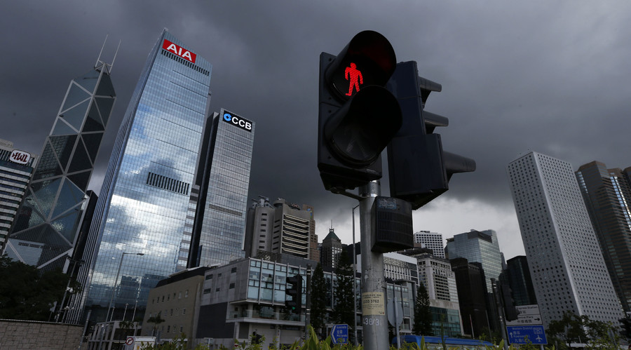 A traffic light is seen at the financial Central district in Hong Kong. © Bobby Yip