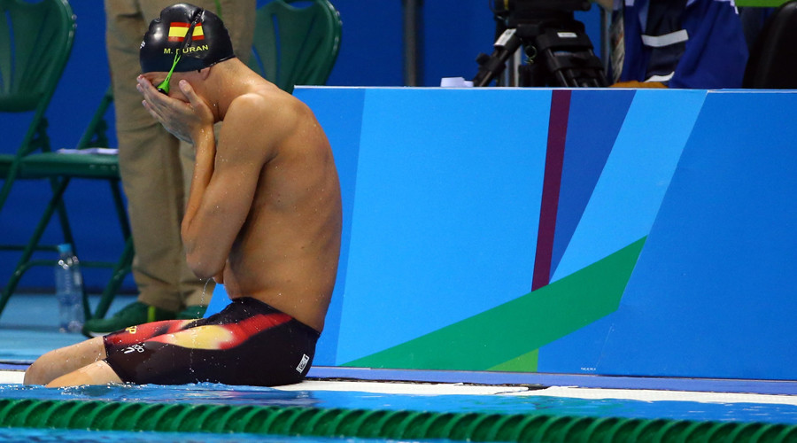 Miguel Duran (ESP) of Spain reacts after a false start. Duran was not disqualified. © David Gray